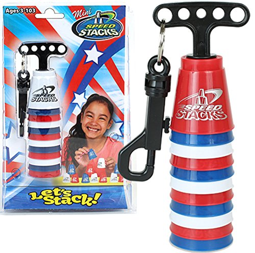 - Patriotic Mini Speed Stacks- Set of 12 Tiny Red, White & Blue Cups with Quick Release Stem That Holds Them All Together! Official WSSA Product!