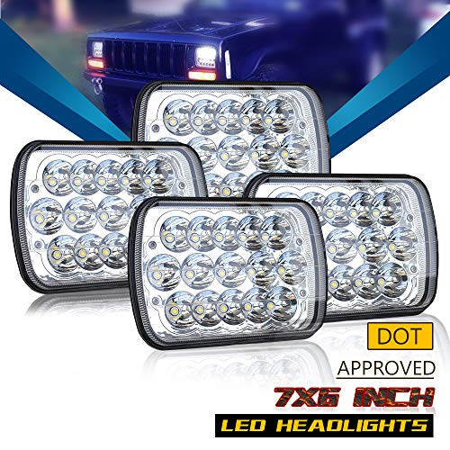 DOT 5X7 7X6 Inch Led Headlights Sealed Beam Hi/Lo Replace H6054 Xenon Halogen Headlamps Jeep Wrangler Grand Cherokee XJ YJ 4x4 Toyota Tacoma pickup Dodge Ram Ford F250 E350 Chevy Corvette van