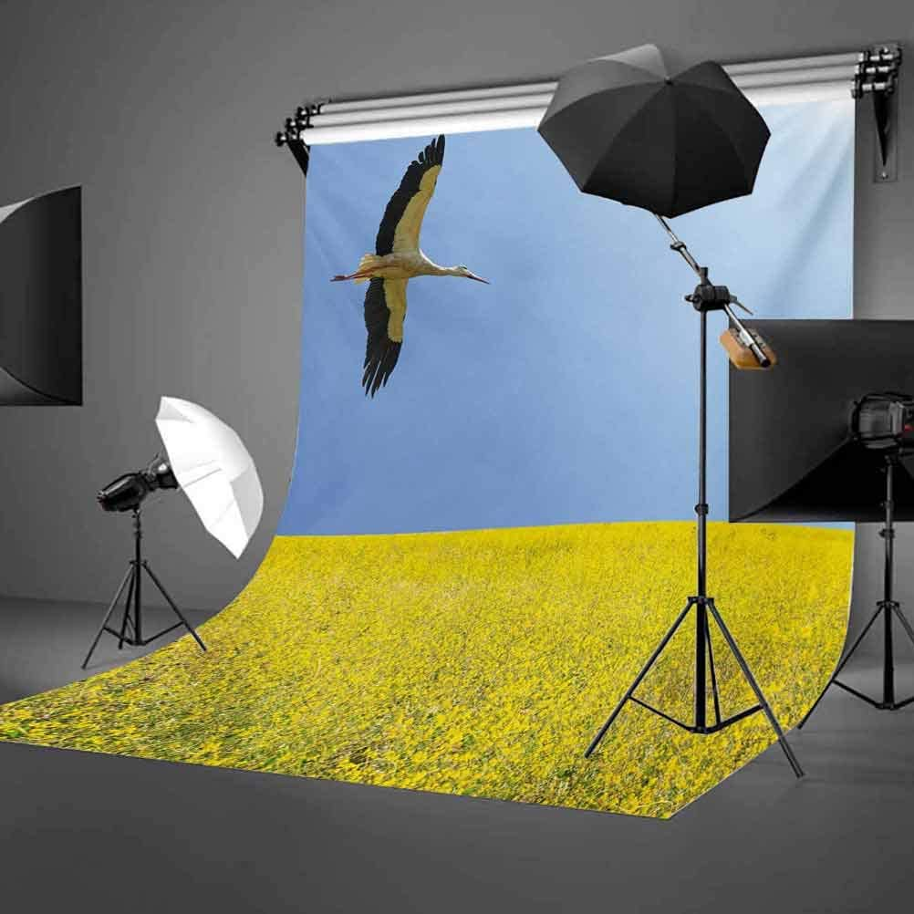 Yellow and Blue 10x15 FT Photo Backdrops,Alone Stork Flying in Clear Sky Over Spring Flowering Field Freedom Picture Background for Child Baby Shower Photo Vinyl Studio Prop Photobooth Photoshoot