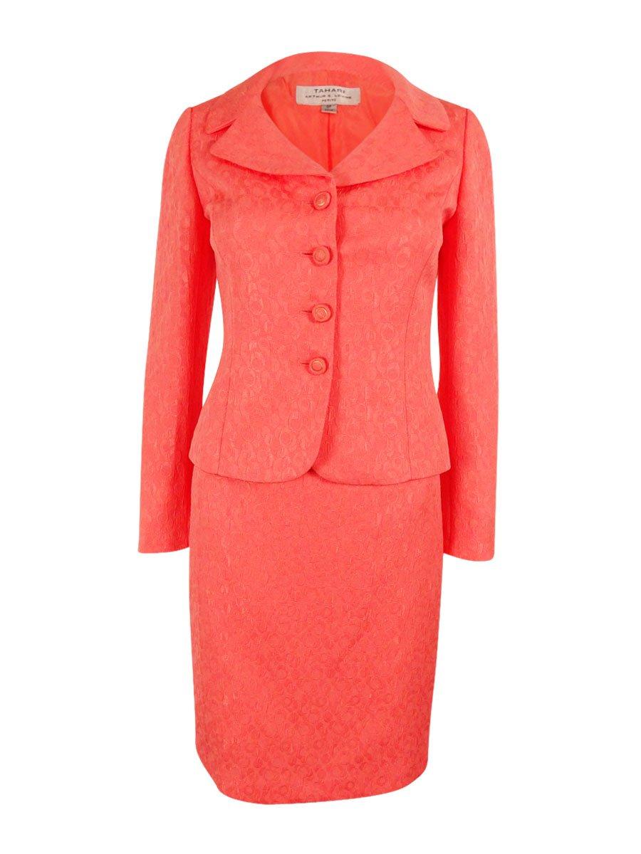 Tahari ASL Women's Jacquard Skirt Suit, Coral, 6