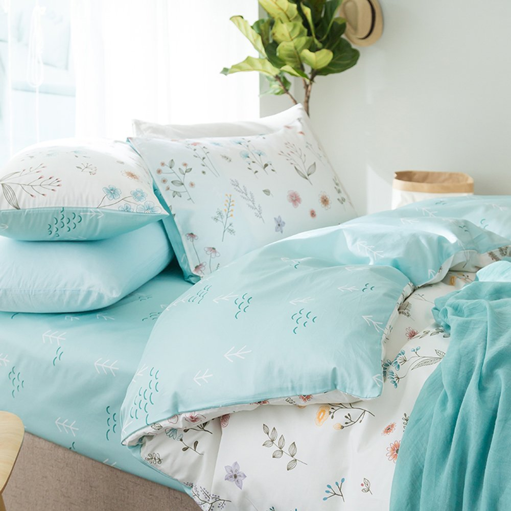 ORoa 3 Piece Duvet Cover and Pillow Shams Set Twin Cotton 100 for Girls Teens Woman, Printed Tree Floral Garden Reversible Design Blue White