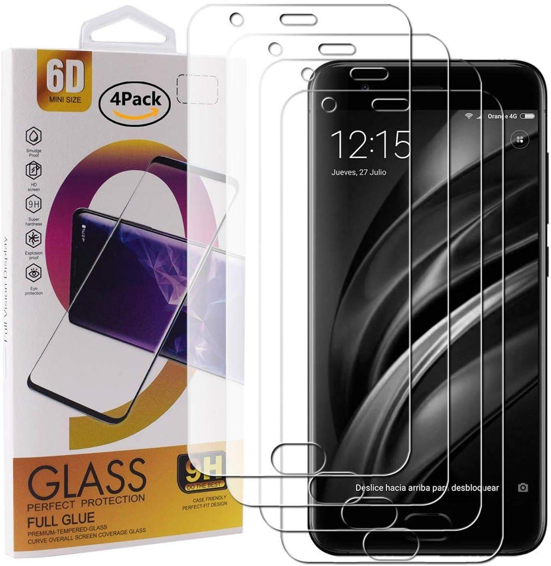 Guran 4 Paquete Cristal Templado Protector de Pantalla para Xiaomi Mi 6 Smartphone 9H Dureza Anti-Ara?azos Alta Definicion Transparente Película