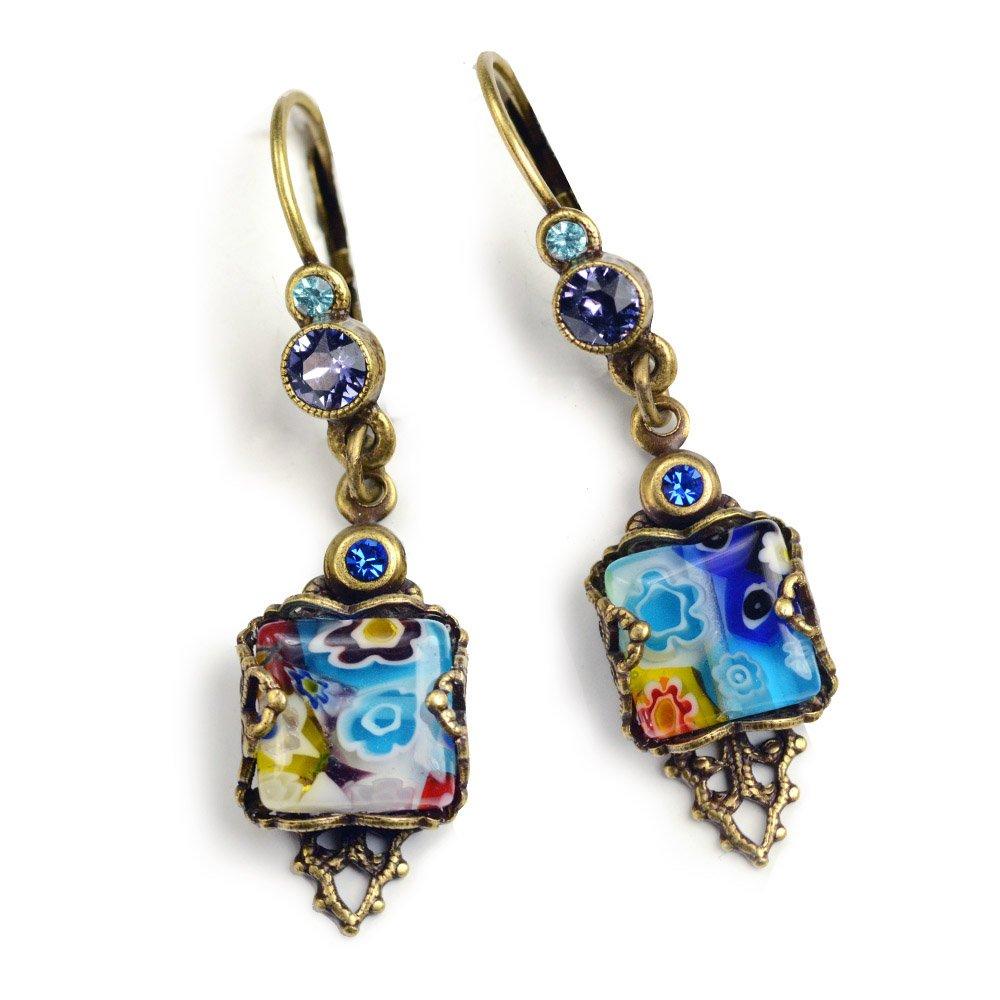Millefiori Glass Vintage Square Earrings, Millefiori Jewelry, Boho Earrings, Festival Jewelry, Retro Summer Earrings, Murano Glass E1382 (BLUE)