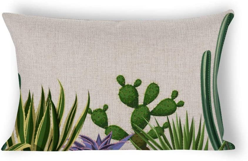 Seamless Border with Cactuses and Succulents Set Cotton Linen Rectangle Throw Pillow Covers 14 x 24 Home Decor Lumbar Pillow Covers for Birthday Christmas Thanksgiving Gifts