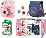 Câmera Instantânea Fujifilm Instax Mini 9 Com 3 Filtros Coloridos, Bolsa e Filme 10 Poses – Rosa Chiclé, Fujifilm, 705065385, Rosa Chiclé