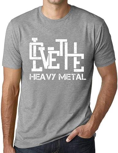 Hombre Camiseta Vintage T-Shirt Gráfico Love The Heavy Metal Gris Moteado: Amazon.es: Ropa y accesorios