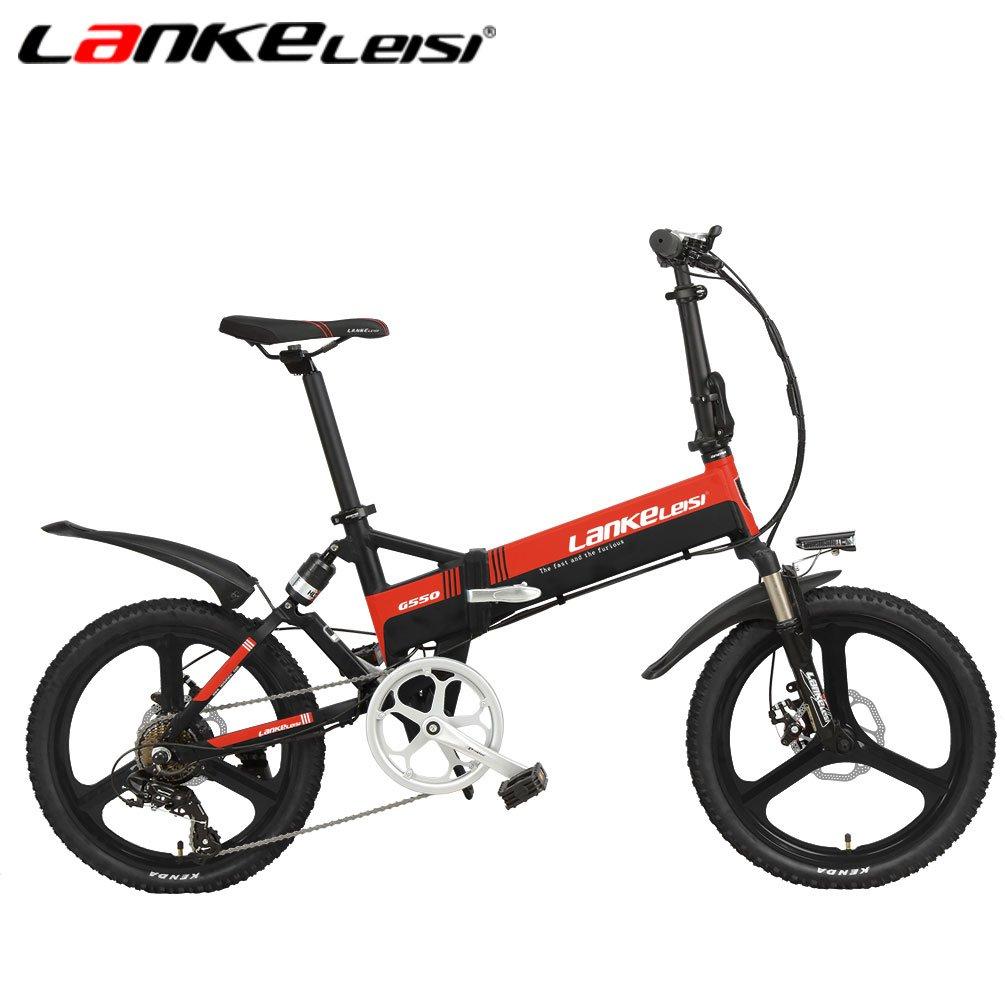 LANKELEISI G550高度な構成の電動自転車 20インチ48 V 240 W 10 5ギア 折りたたみフルサスペンション自転車 B079BW49XY黒赤 年中無休 送料無料カード決済可能 AHリチウム電子バイク7スピード