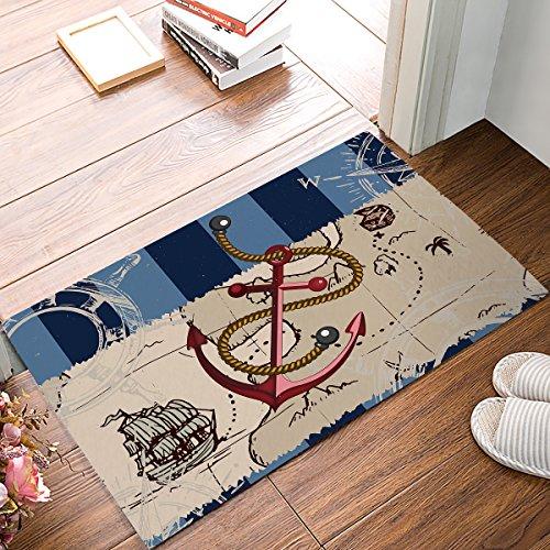 HomeCreator 32 x 20 Inch Vintage Navy Blue Stripe Anchor Sailboat Door Mats Kitchen Floor Bath Entrance Rug Mat Absorbent Indoor Bathroom Decor Doormats Rubber Non Slip