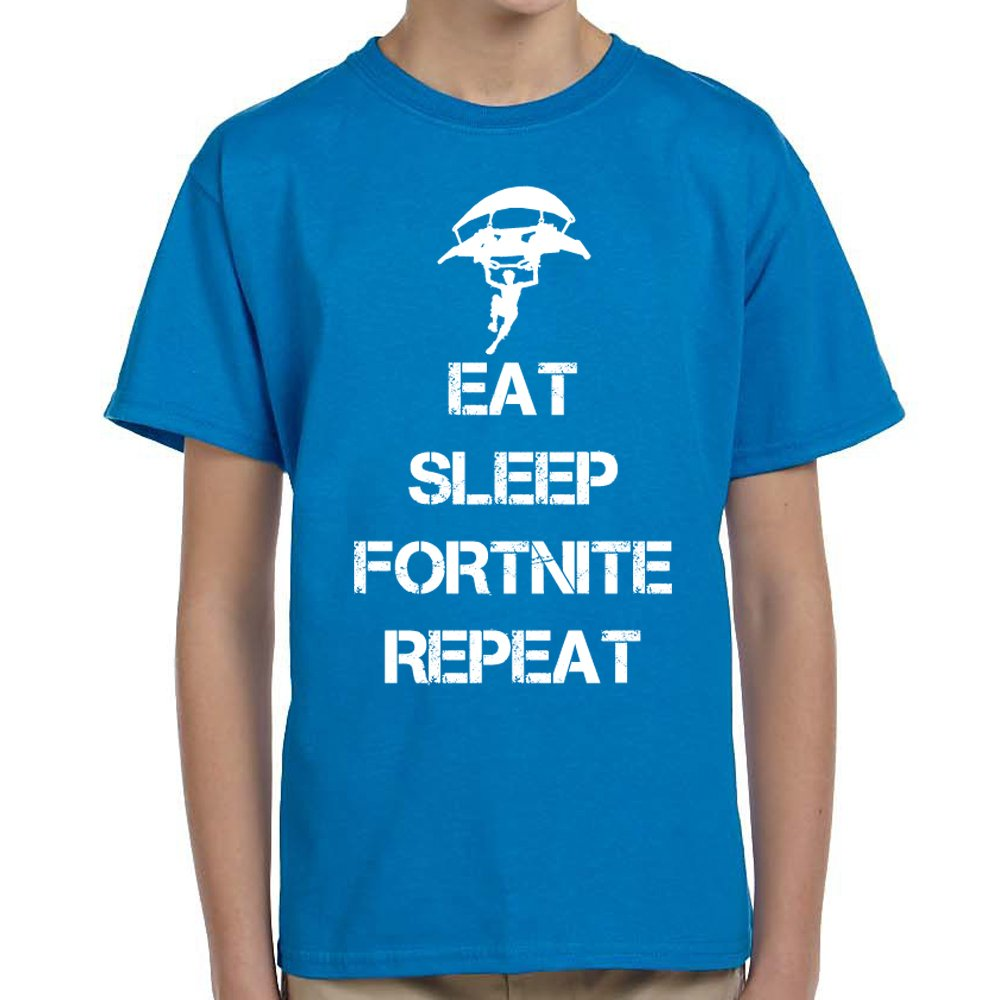 TeeINKS Eat Sleep Fortnite Repeat Sapphire Blue Youth T Shirt (Youth X-Large)