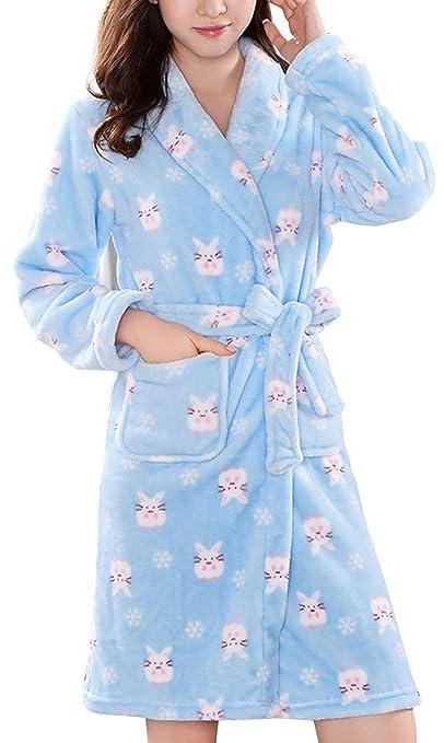 ECHERY Womens Plush Robe Soft Warm Coral Fleece Bathrobe Dressing Gown Spa Pajamas Sleepwear Blue at Amazon Womens Clothing store: