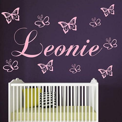 Wandtattoo Kinderzimmer Wunsch Namen Personalisiert Mit 10 Schmetterlingen Jungen Madchen Wandaufkleber Baby Anfertigung 21 Farben Auswahl Amazon De Handmade