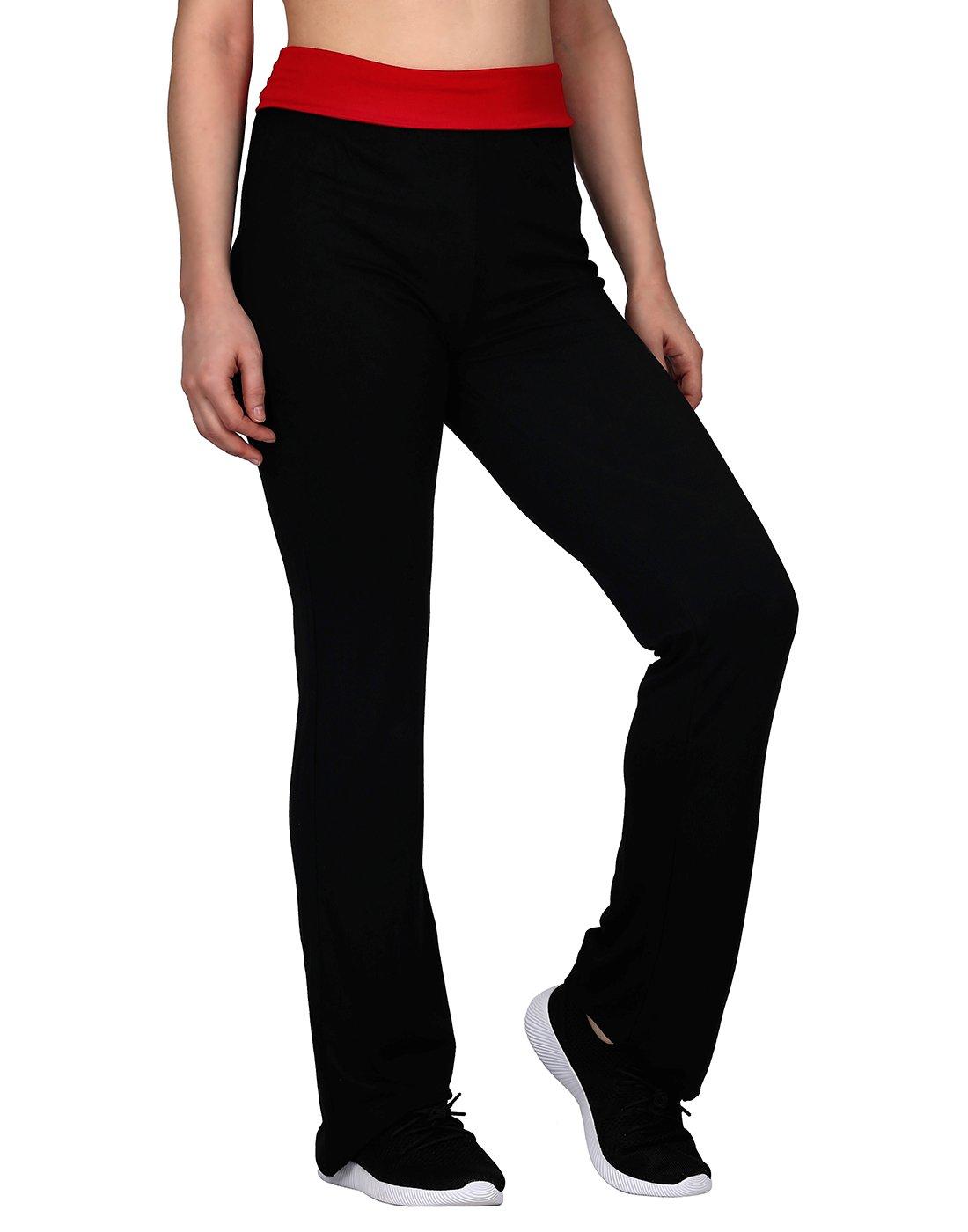 HDE Women's Maternity Yoga Pants Comfortable Lounge Pregnancy Pants Folded Waist (Black & Red, Medium) by HDE