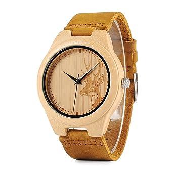 bobo pájaro am076 ciervo grabado para hombre de madera de bambú Relojes en caja de regalo