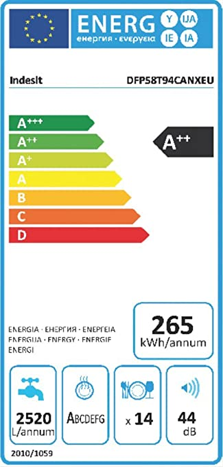 Indesit DFP 58T94 CA NX EU Geschirrspüler/ A++ / 265 kWh/Jahr / 2520 ...