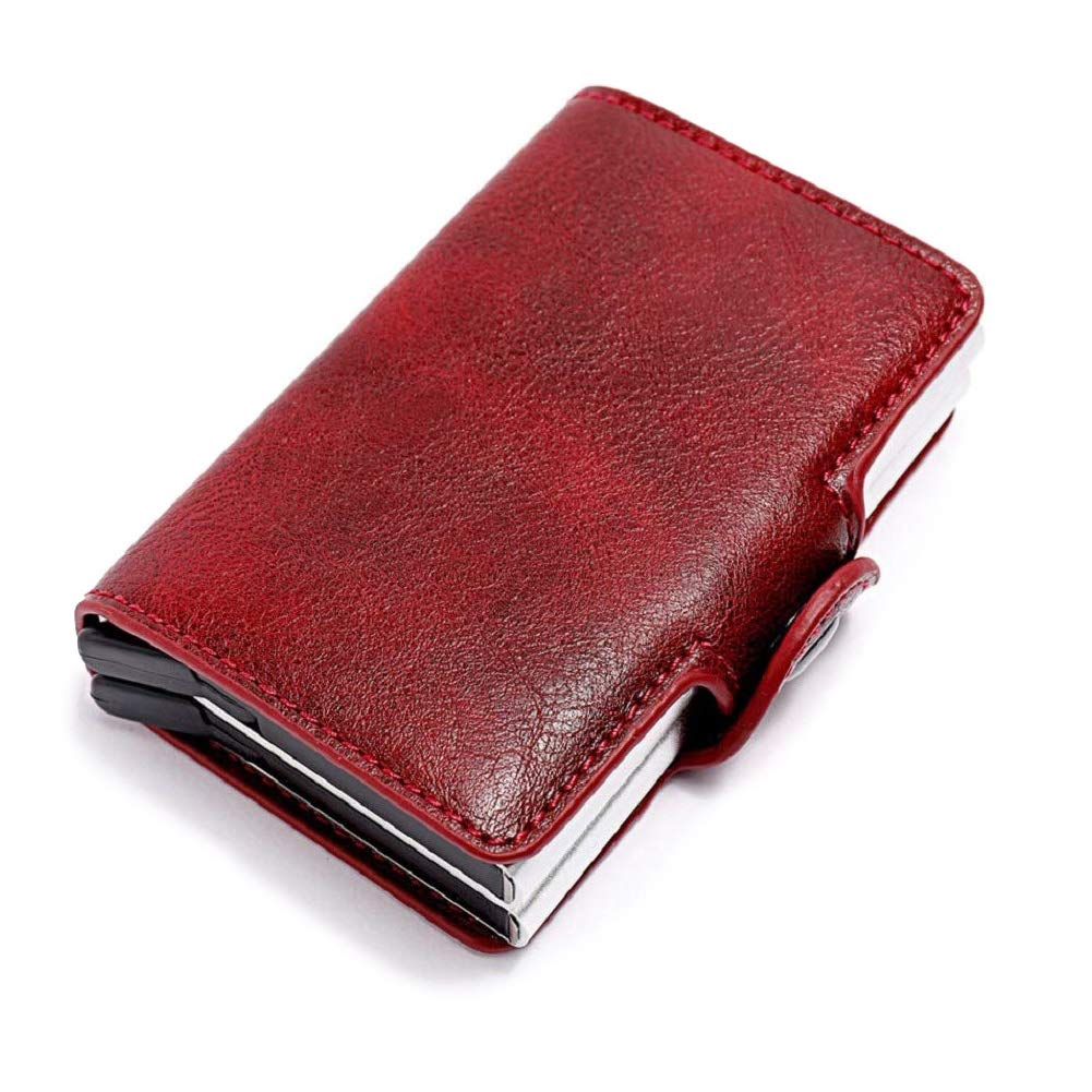 Minimalist PU Leather Mens Card Wallet Credit Card Holder Double Case Credit Card Protector Automatic Pop-up Card Dlife Wallet with Money Clip RFID Blocking Wallet