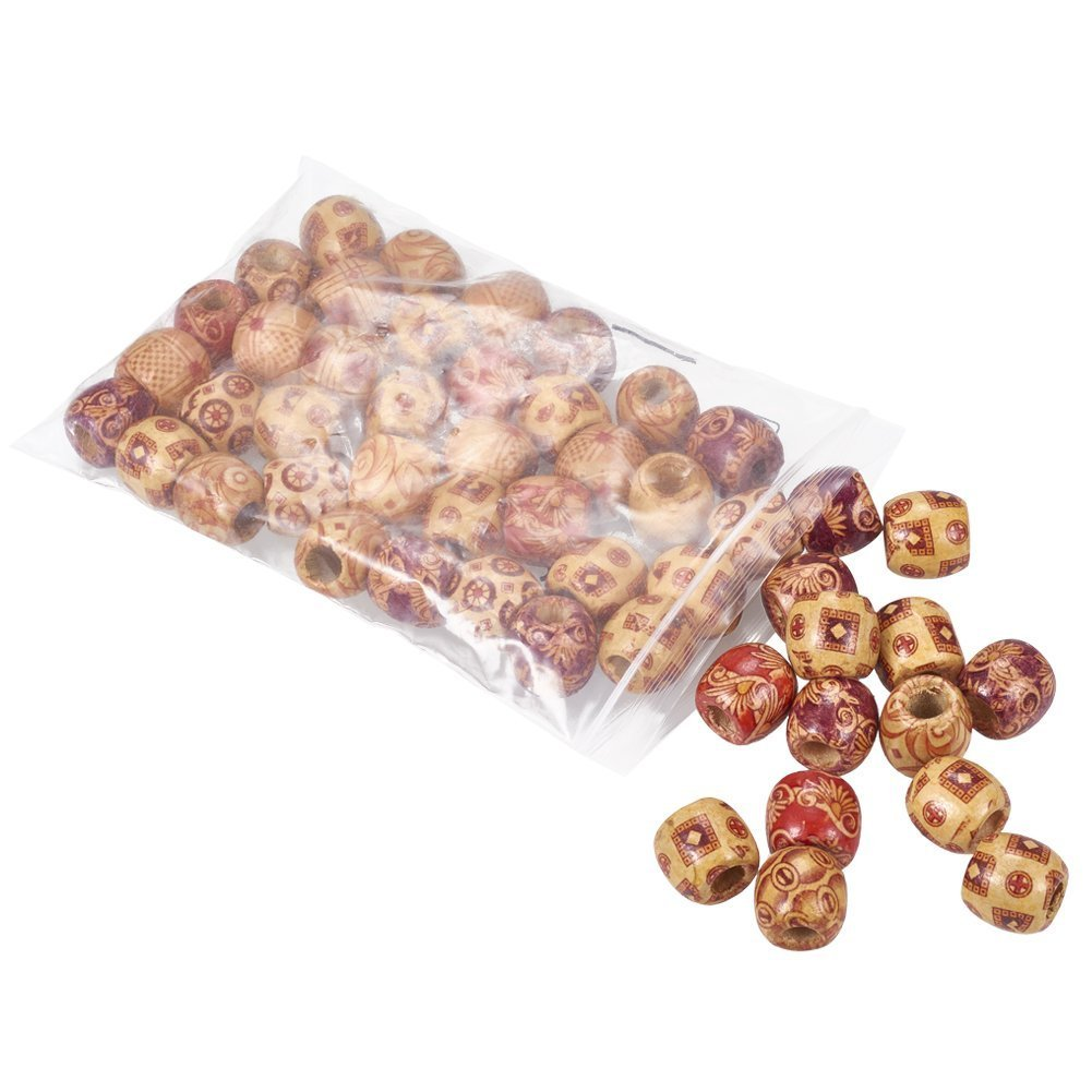 PandaHall Round Mixed Bead with Hole Bracelet Leadless Wooden Beads Gemischte Fareb1 6 mm