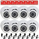 VideoSecu 8 x Built-in Sony CCD Infrared CCTV Home Surveillance Outdoor Dome Security Cameras Day Night Vision Weatherproof Vandal Proof 28 IR LEDs 480TVL Wide View Angle Lens with Free Power Supplies and Security Warning Decals CPZ, Best Gadgets