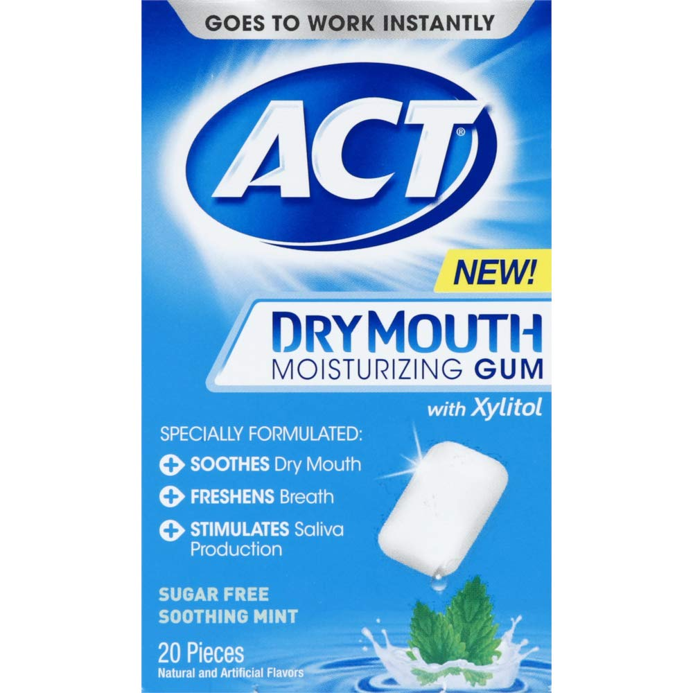 ACT Dry Mouth Moisturizing Gum, Soothing Mint, Sugar Free, 20 Count (Pack of 3)
