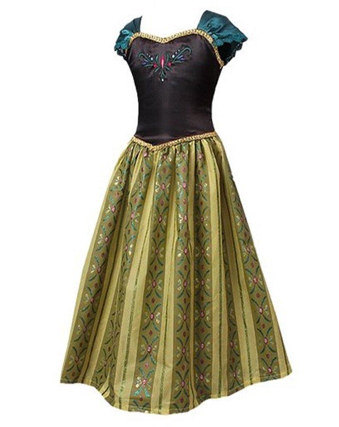 ELSA & ANNA® Princesa Disfraz Traje Parte Las Niñas Vestido (Girls Princess Fancy Dress) ES-FBA-ANNA1 (5-6 Años, ES-ANNA1)