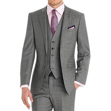 Hzwl Custom Made Groom Tuxedos Light Grey Men Wedding Suits Side