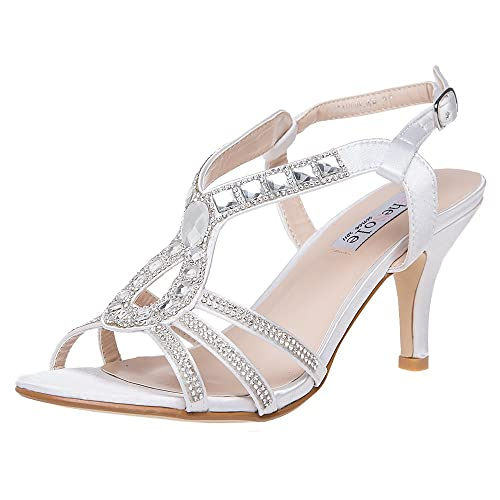 8206cc7b5b1 SheSole Womens Mid Heel Sandals Ankle Strap Party Wedding Bride Shoes White  UK 3