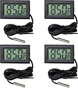 VOKARO 4-Pack Fahrenheit(℉) Digital Thermometer Wired for Indoor, Outdoor, Greenhouse, Garden (Black)