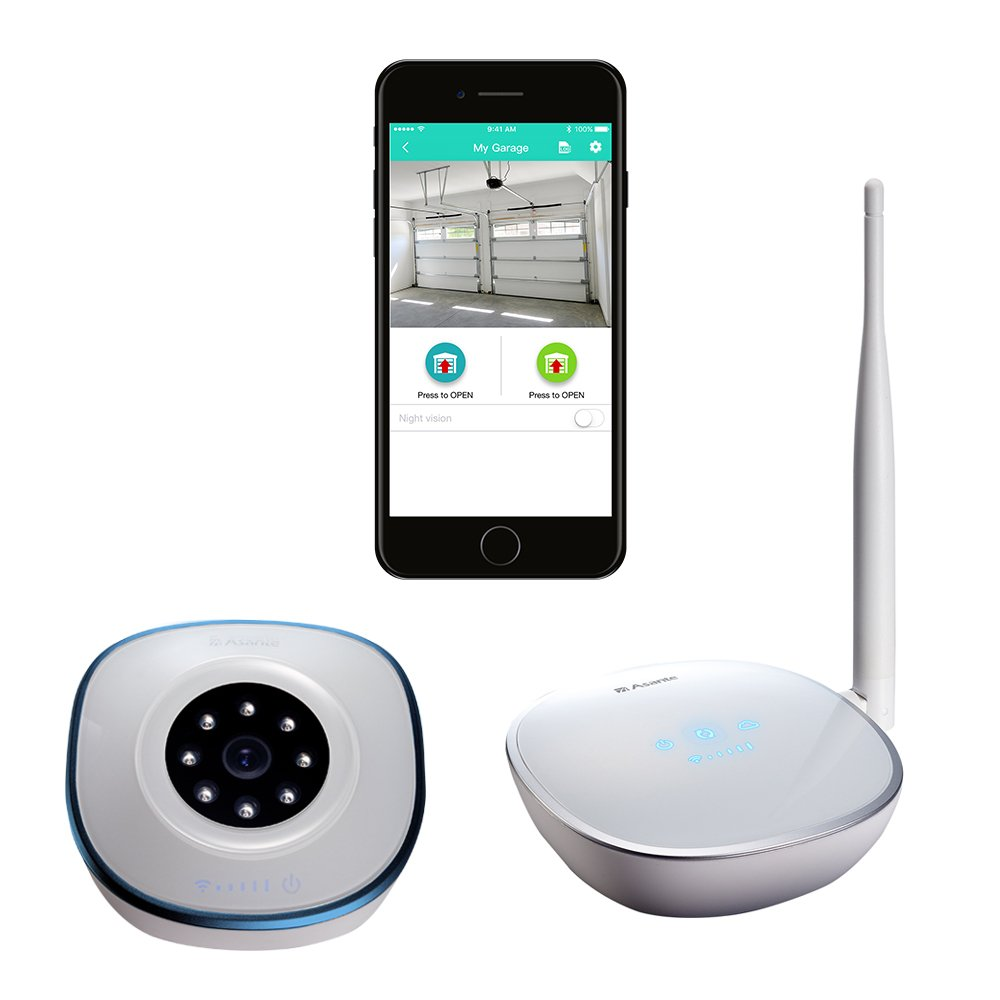 Asante Garage Door Opener with Camera Kit, remotely open and close garage doors from a smartphone with Internet access and see streaming video of your garage area