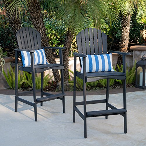 Great Deal Furniture Malibu Outdoor Dark Grey Finished Acacia Wood Adirondack Barstools (Set of 2)