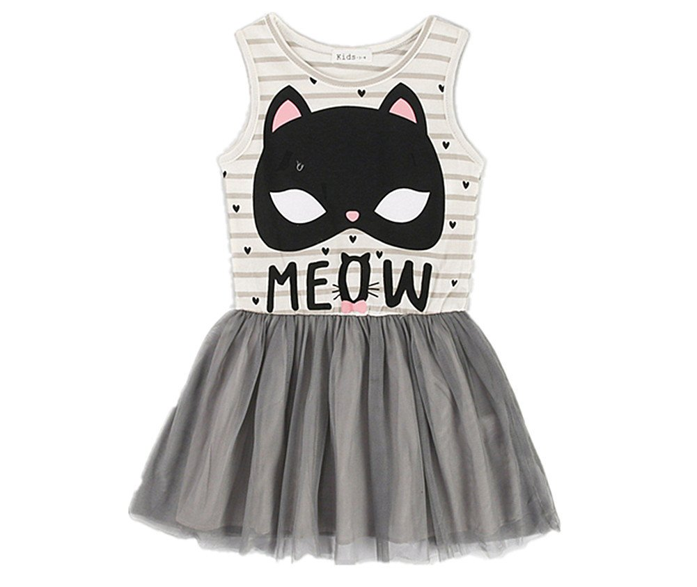 Comfybuy Cute Kitty Soft Casual Stripes Princess Dress for Baby Teen Girls Free Hairpin 5-6Y