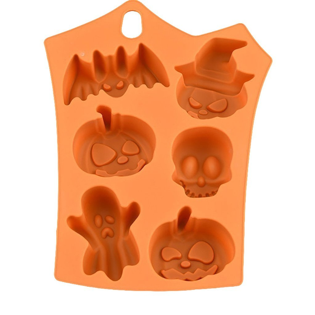 display08 Funny Bat Pumpkin Silicone Cake Mold Halloween Party Fondant Mould - Orange