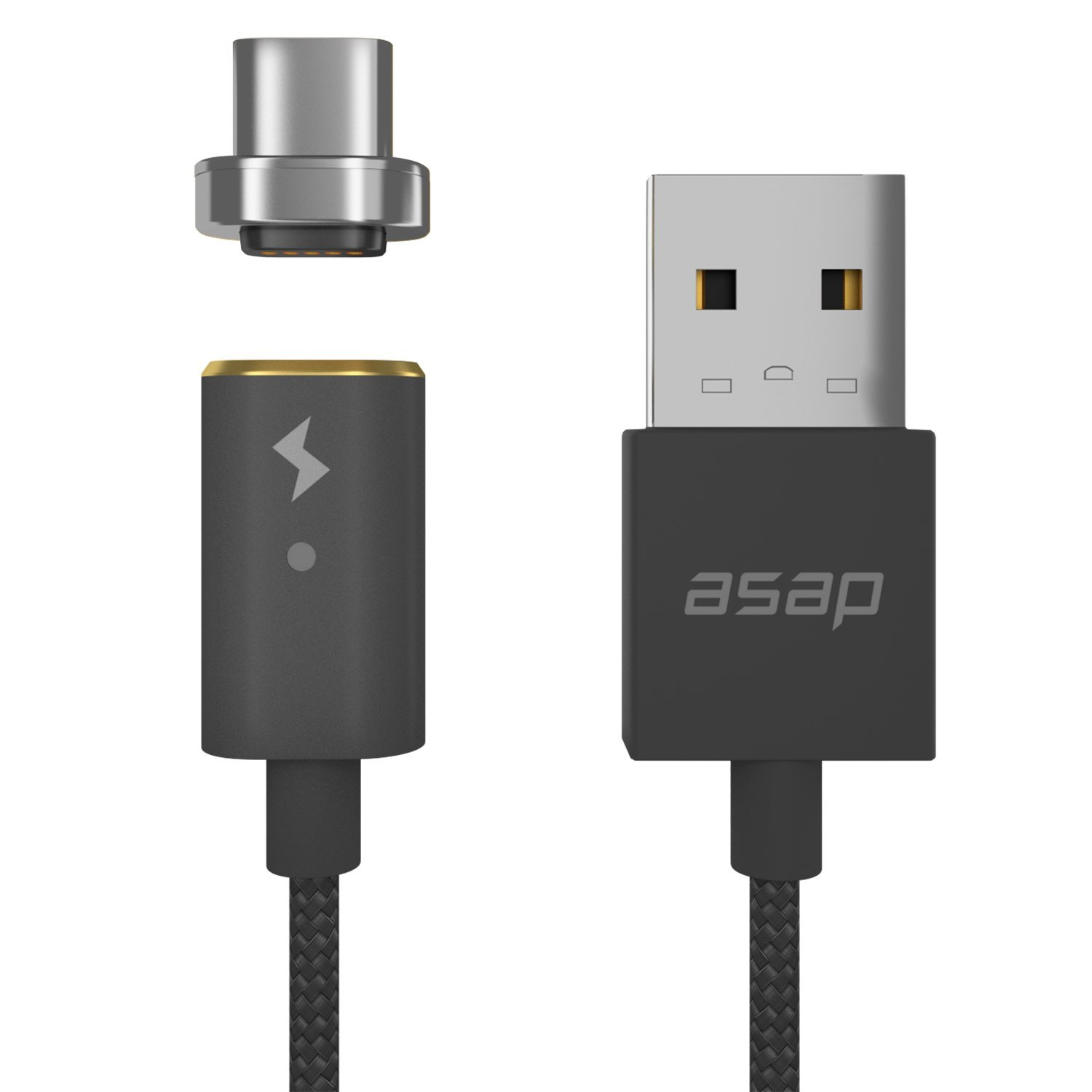 ASAP X-Connect Cable set USB Type C Cross Device Compatible Magnetic Data Transfer Fast Charge 3.94ft Cable (Gunmetal)