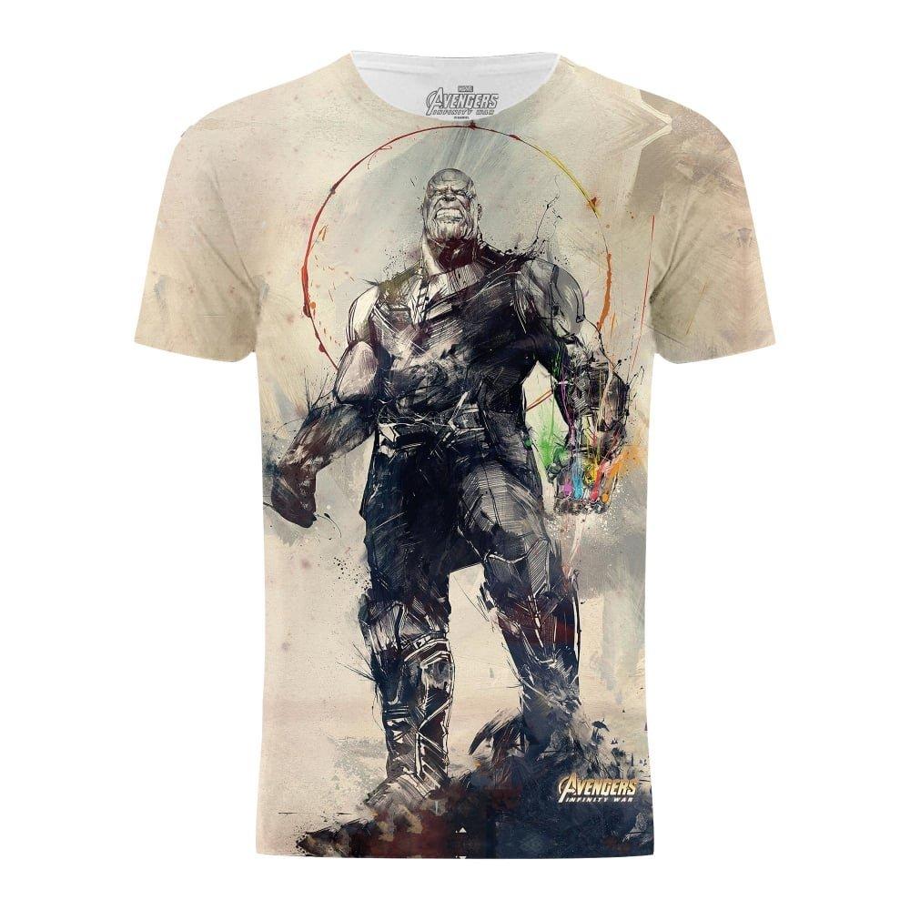 Avengers Infinity War Thanos Battle Stance Infinity Gauntlet Titan Fight T-Shirt (M) (Multicoloured) UTTF653_3