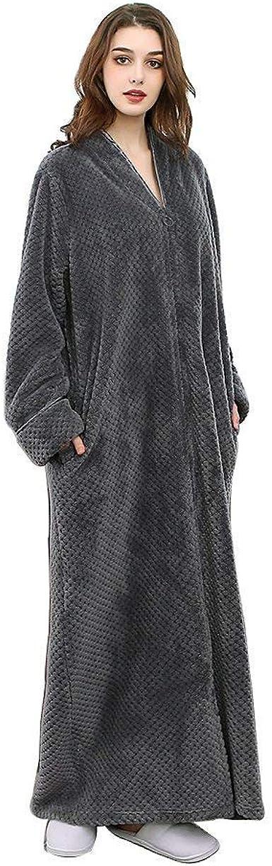 con capucha CORAFRITZ Bata larga de forro polar de manga larga para mujer ropa de dormir para casa con cremallera