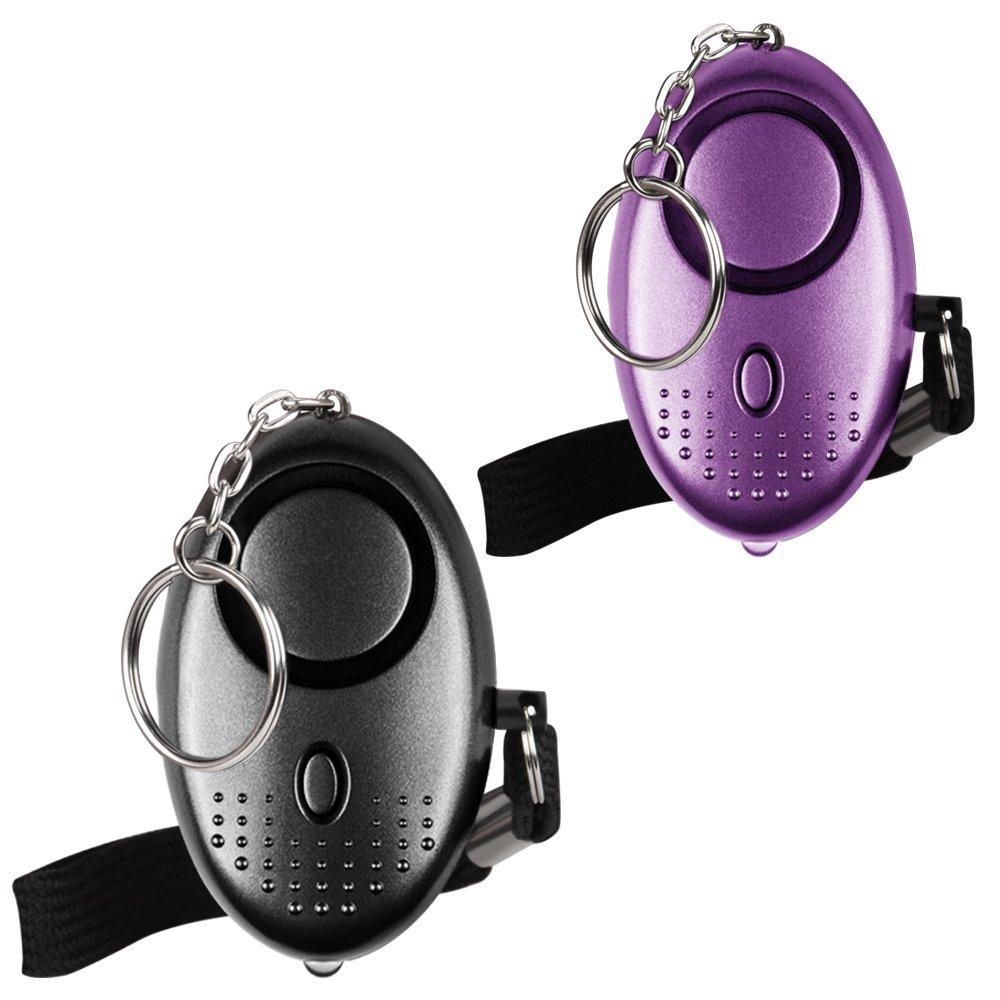 Alarme personnelle d'urgence [3 Pack] Qoosea Scream Safesound alarme de sécurité 140dB LED lampe de poche pour enfants / femmes / personnes âgées / étudiant Self Defense Protection Sécurisé (noir + argent + v