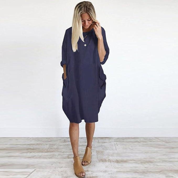... con bolsillos y cuello redondo, Vestidos largos de algodón Casual Tops para mujer Mini faldas sueltas con manga corta 3/4: Amazon.es: Ropa y accesorios