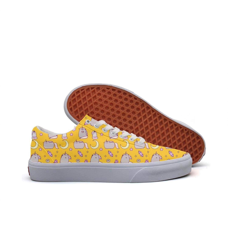 SERXO Yellow Fat Unicorn with Diamond Skateboard Shoes Women Ladies Sneakers