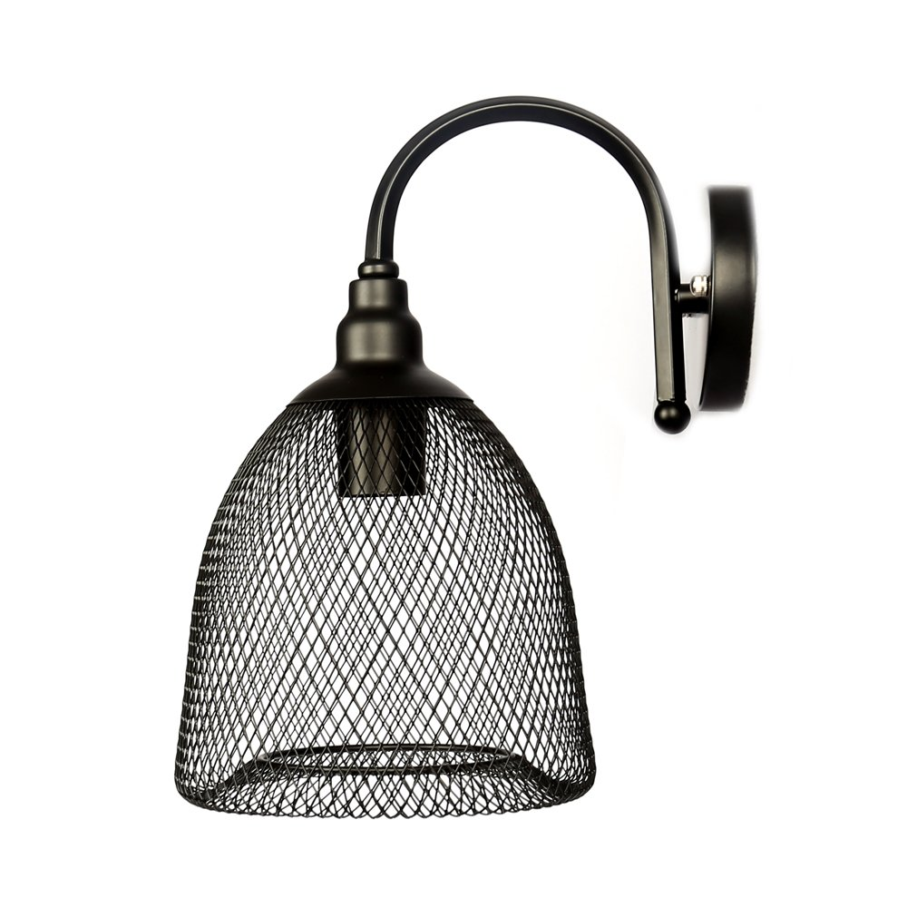 Wall Sconces Light Black Metal Wire Cage Wall Lamp Industrial Vintage Edison Lighting Fixture E26 E27 Base for Hallway Coffee Restaurant Kitchen Type A