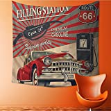 Polyester Tapestry Multi Purpose Gasoline Stati Commercial with Kitschy Elements Route Theme Wall Hanging for Bedroom Living Room Dorm 32W x 32L Inch
