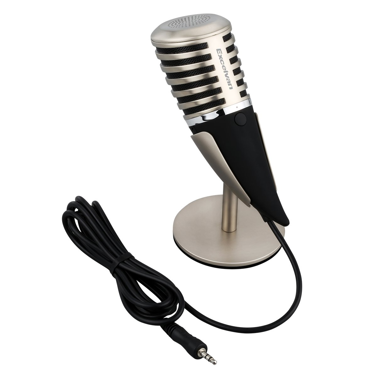 Excelvan SF-700 Condenser Microphone Professional 3.5mm Plug &Play PC Recording Mic with All Metal Stand Retro Unique Ox Horn Design for Broadcasting,Gaming, Music Recording by Excelvan (Image #9)