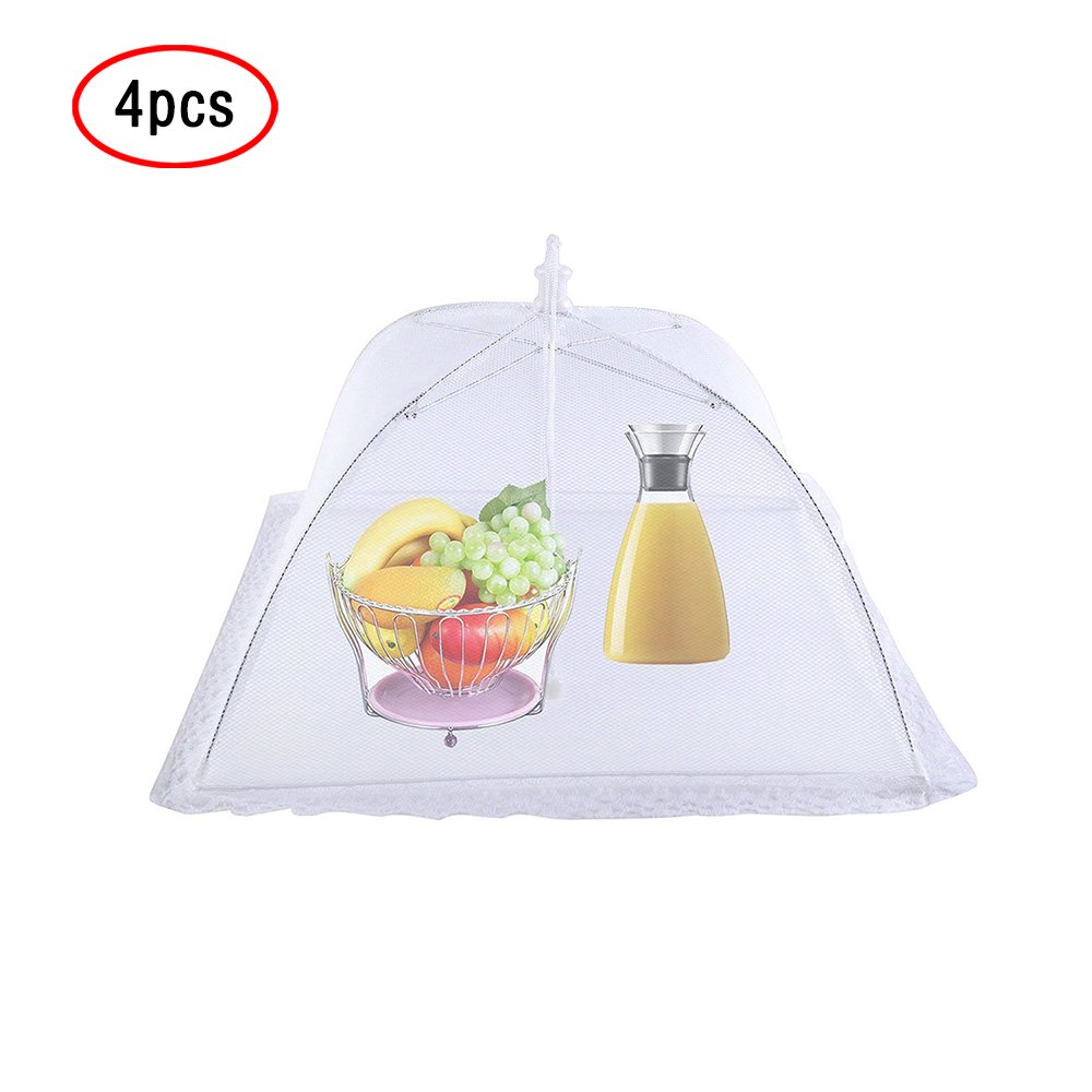 Food Cover Tents(4PCS Pop Up Mesh Lace Screen Food Cover Reusable and Collapsible) Outdoor Food Cover,Food Protector Tent Keep Out Flies,Bugs, Mosquitoes 16.5'')