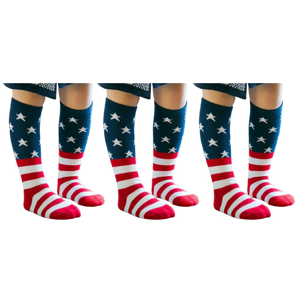 Knee High Tube Socks for Boys, Girls, Baby, Toddler & Child 3 Pairs(Photo Color)