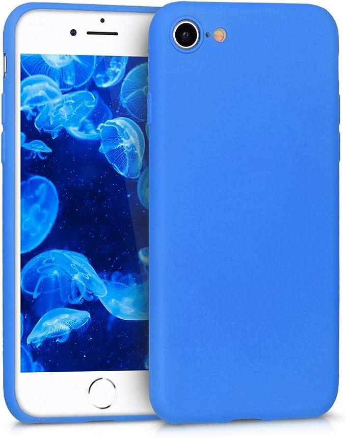 Image ofkwmobile Funda Compatible con Apple iPhone 7/8 / SE (2020) - Carcasa de TPU Silicona - Protector Trasero en Azul neón