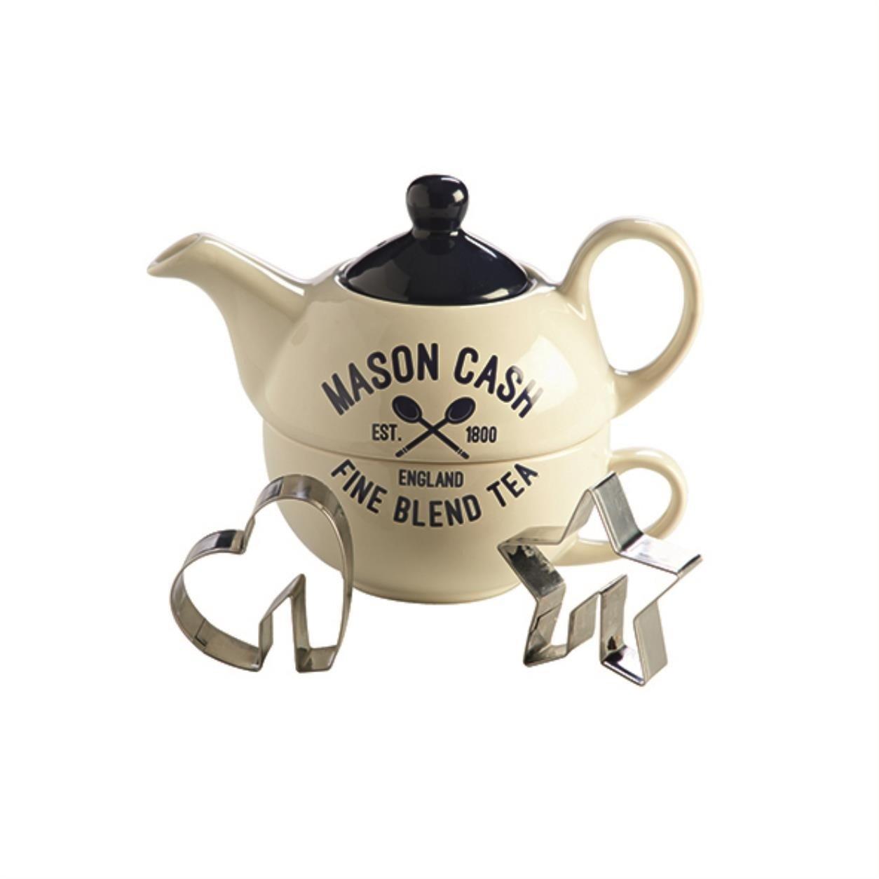 Mason Cash Teekannen-Set Tea for One Teekanne mit 2 Ausstecher, Edelstahl, Keramik, Weiß , 14,5 x 11,5 x 12,5 cm 2001.745