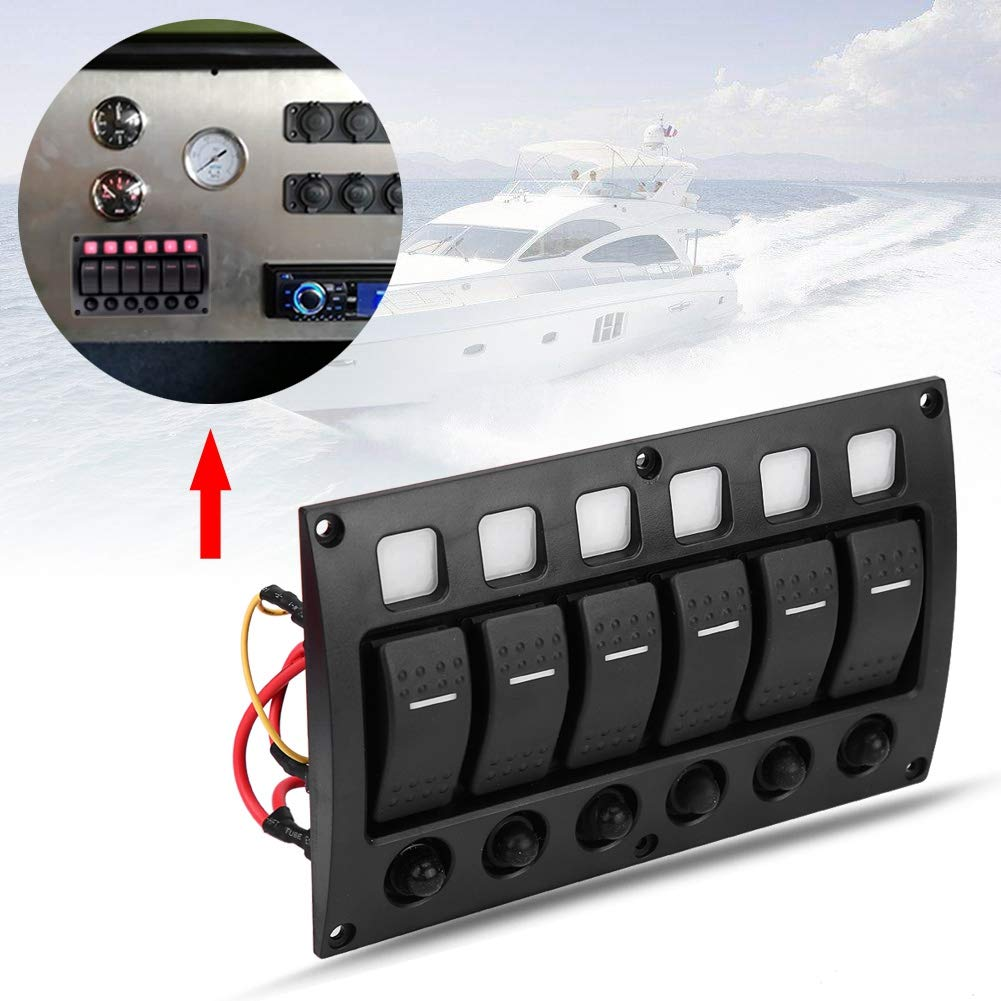24V Car Boat RV Yacht On//off Interruttore a levetta Pannello con Interruttore a LED Interruttore di Circuito KIMISS 6P 12