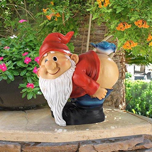 (Design Toscano Loonie Moonie Bare Buttocks Garden Gnome Statue, Medium 8 Inch, Polyresin, Full Color)