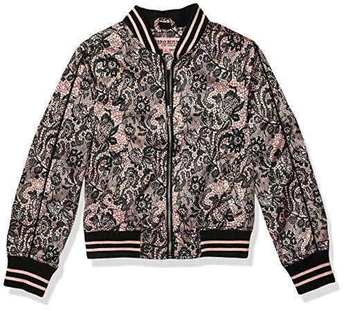 Urban Republic Big Girls Sateen LACE Print Bomber Jacket, Black, 14