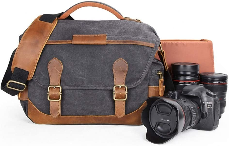 AXEDENRRT Waterproof Batik Canvas Photography Shoulder Retro Casual SLR Canvas Bag Compatible for Canon Sony Nikon