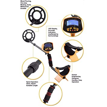 LIJUMN Detector de Metales Impermeable Pantalla LCD de Mano MD-3010II Profesional de Alta sensibilidad Detector de Metales subterráneo Buscador de Tesoros ...
