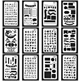 Vancool 24 Pack Bullet Journal Stencil Set Plastic Planner Drawing Template for Journary/Notebook/Diary/Scrapbook, 4 x 7 Inch, Perfect for Christmas Memorial