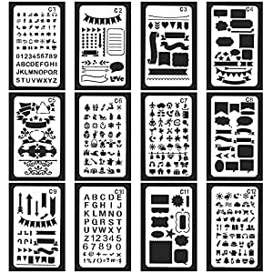 Vancool 24 Pack Bullet Journal Stencil Set Plastic Planner Drawing Template for Journary/Notebook/Diary/Scrapbook, 4 x 7 Inch, Over 1200 Different ...